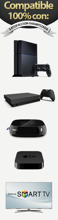 Compatible con Apple TV, Smart TV, Play Station 3, Xbox 360